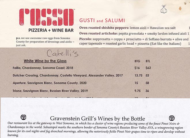 Three Wine Lists, Two Chicken Sandwiches, Some Wine Notes and Fun Facts